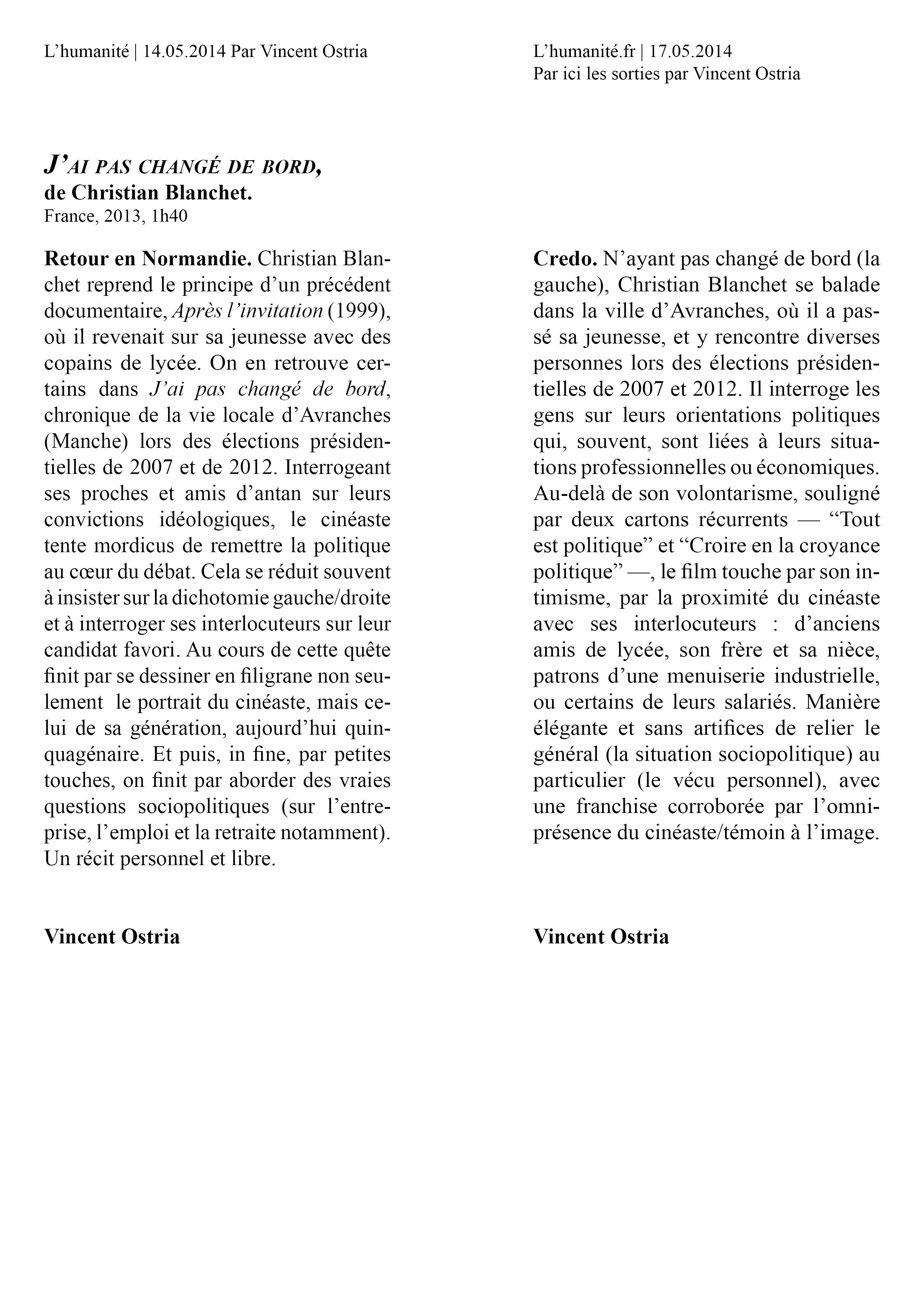 L'Humanité14 mai et 17 mai 2014 Vincent Ostria