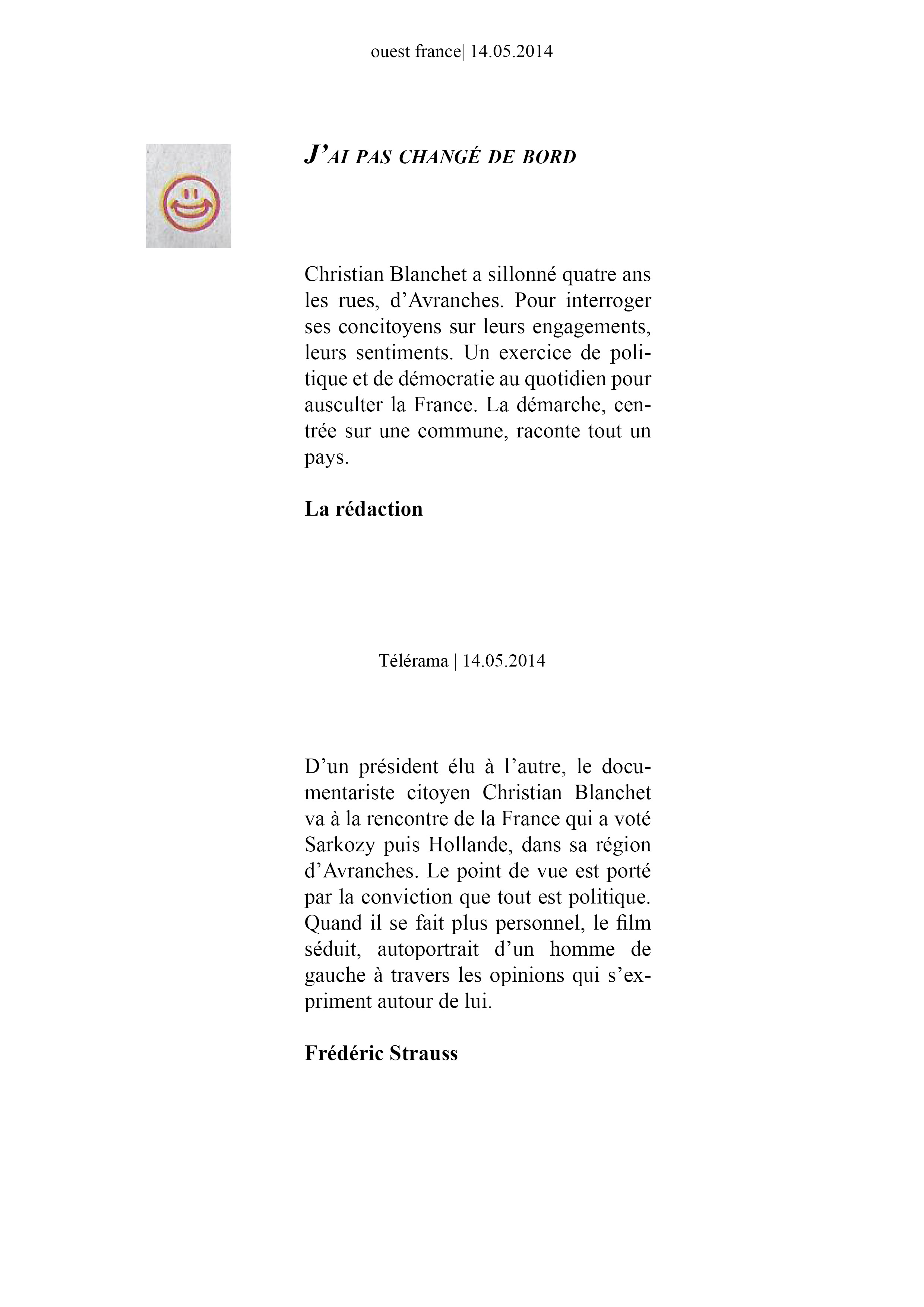 Ouest France et télérama 14 mai 2014